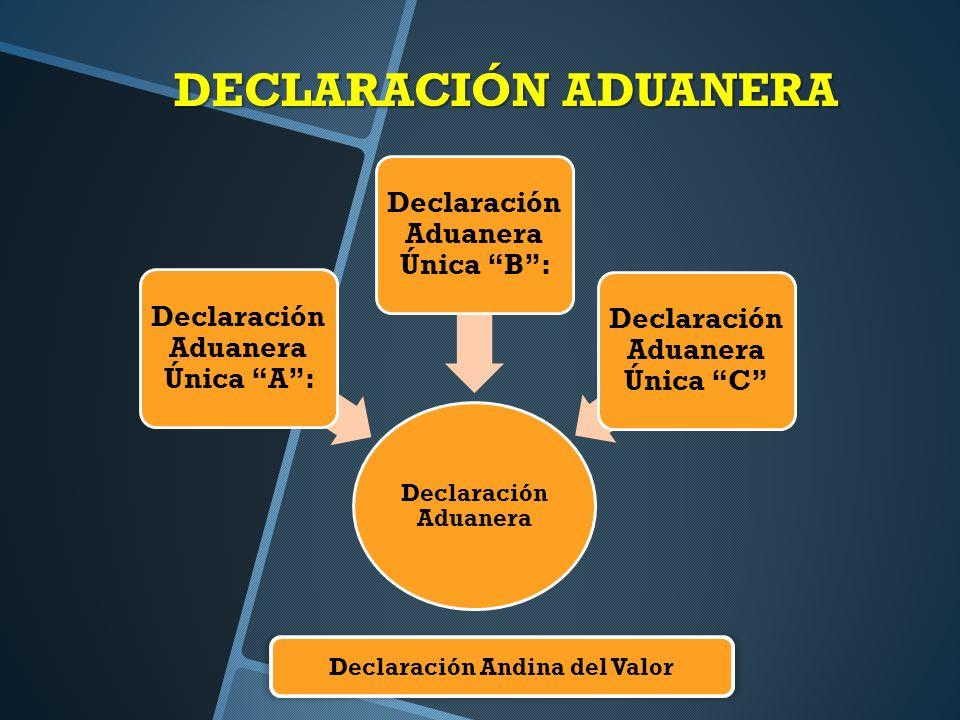 DECLARACIÓN ADUANERA Declaración Aduanera Declaración Aduanera Única A: Declaración Aduanera Única B: Declaración Aduanera Única C Declaración Andina del Valor