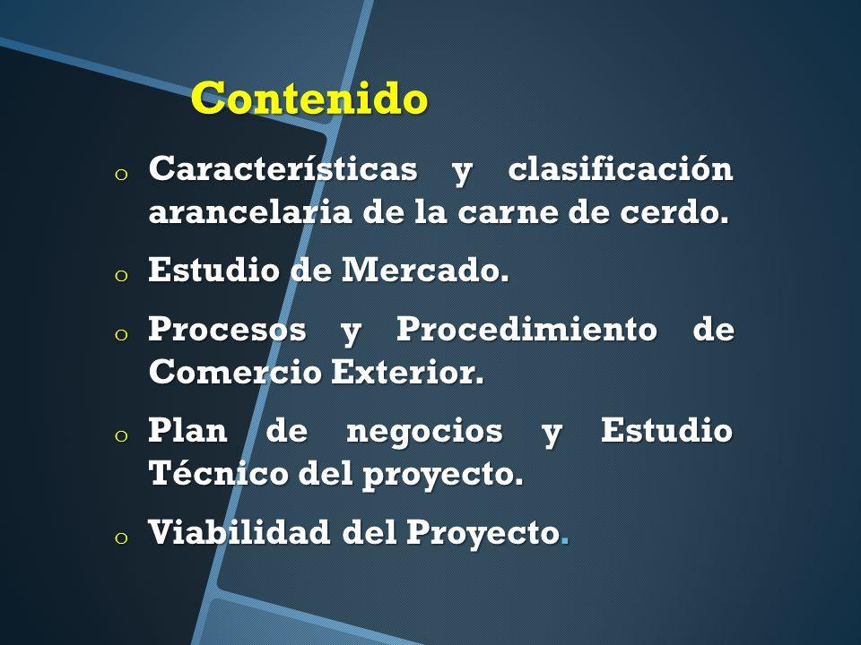 Contenido o Características y clasificación arancelaria de la carne de cerdo.