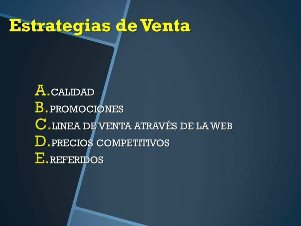 Estrategias de Venta A.CALIDAD B. PROMOCIONES C. LINEA DE VENTA ATRAVÉS DE LA WEB D.