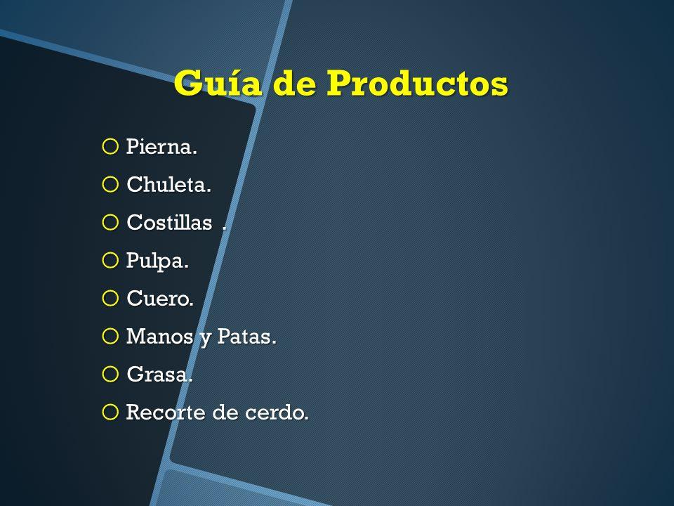 Guía de Productos o Pierna.o Chuleta. o Costillas.