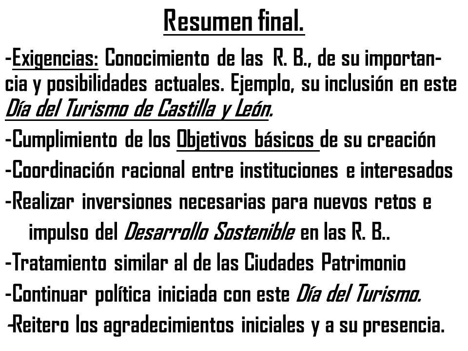 Resumen final. -Exigencias: Conocimiento de las R.