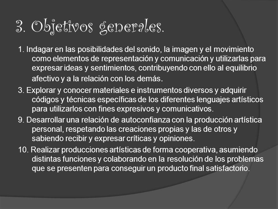 4.Objetivos específicos. 1. Fomentar la creatividad, imaginación y la autonomía personal.