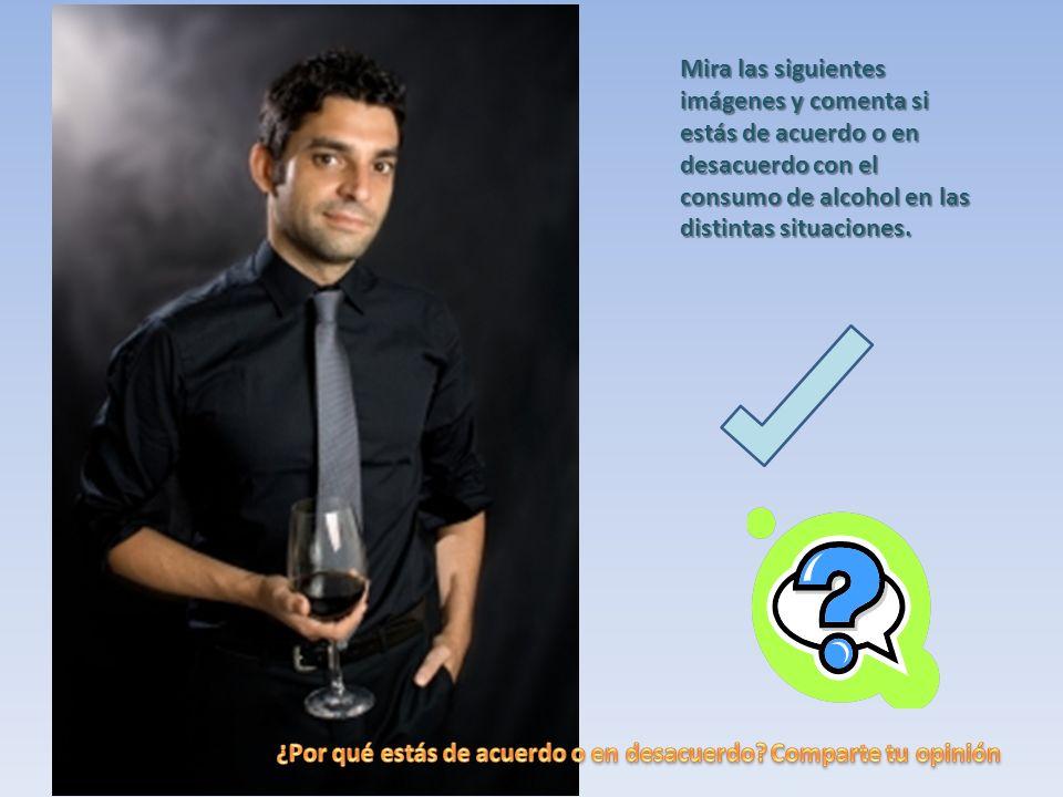 Mira las siguientes imágenes y comenta si estás de acuerdo o en desacuerdo con el consumo de alcohol en las distintas situaciones.