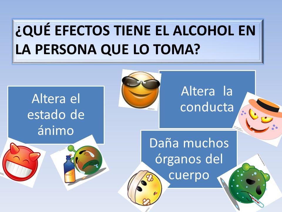 Altera el estado de ánimo Altera la conducta Daña muchos órganos del cuerpo ¿QUÉ EFECTOS TIENE EL ALCOHOL EN LA PERSONA QUE LO TOMA?