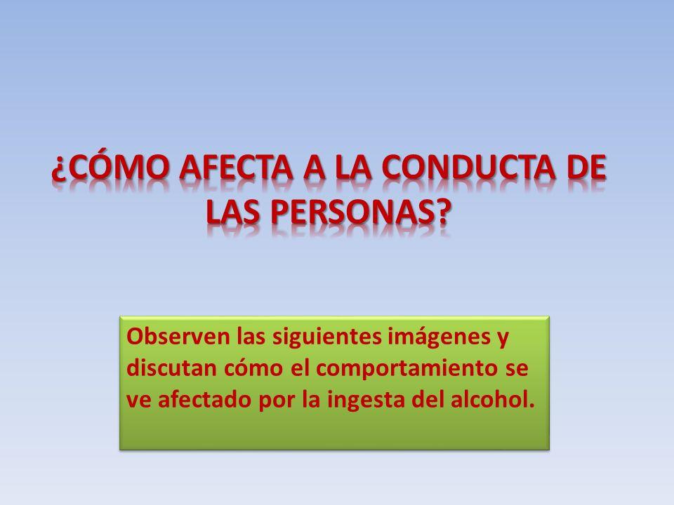 Observen las siguientes imágenes y discutan cómo el comportamiento se ve afectado por la ingesta del alcohol.