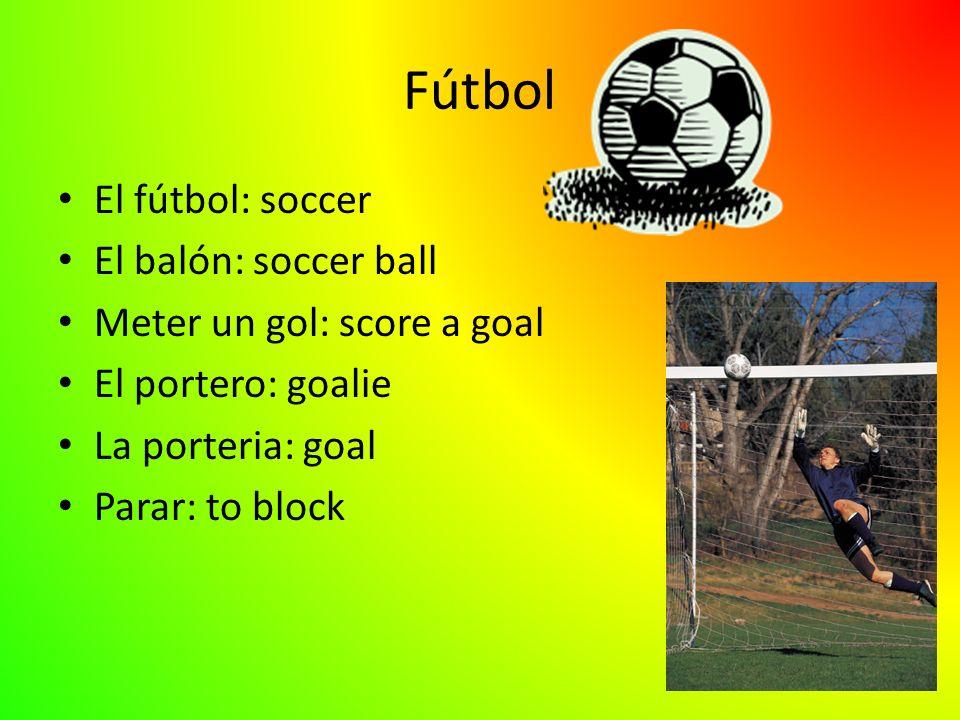 Fútbol El fútbol: soccer El balón: soccer ball Meter un gol: score a goal El portero: goalie La porteria: goal Parar: to block