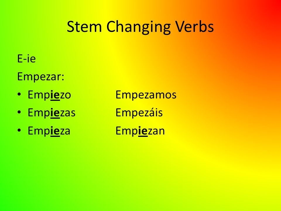 Stem Changing Verbs E-ie Empezar: EmpiezoEmpezamos EmpiezasEmpezáis EmpiezaEmpiezan