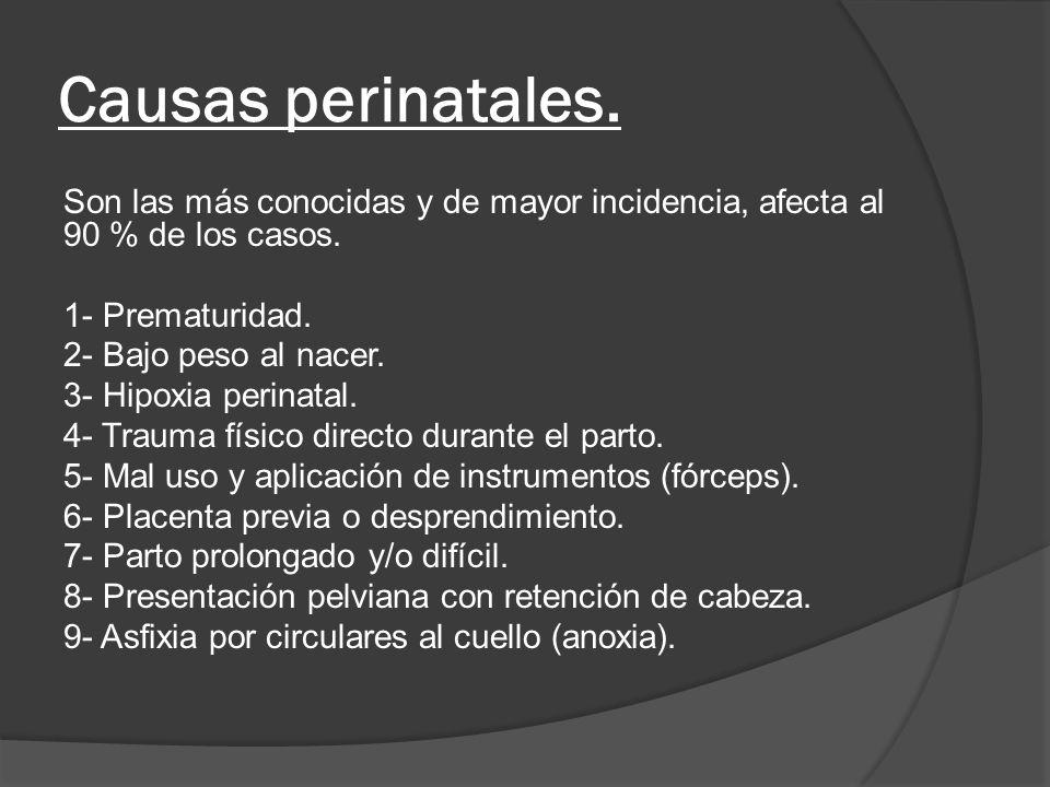 Causas posnatales 1- Traumatismos craneales.2- Infecciones (meningitis, meningoencefalitis, etc.).