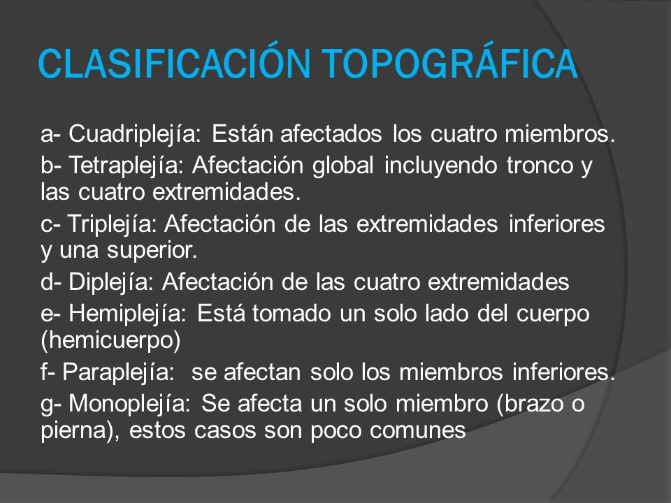 CLASIFICACIÓN TOPOGRÁFICA a- Cuadriplejía: Están afectados los cuatro miembros.