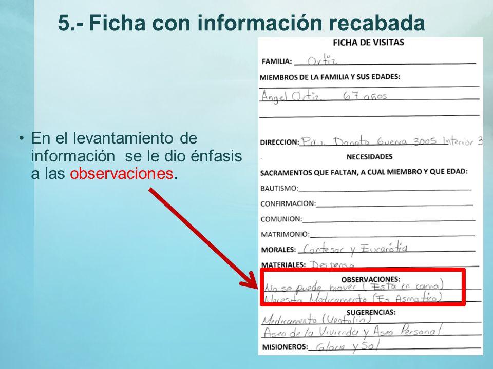 Ficha Con Datos Asentados Se recogieron las fichas con la información específica de cada una de las familias que se visitaron.