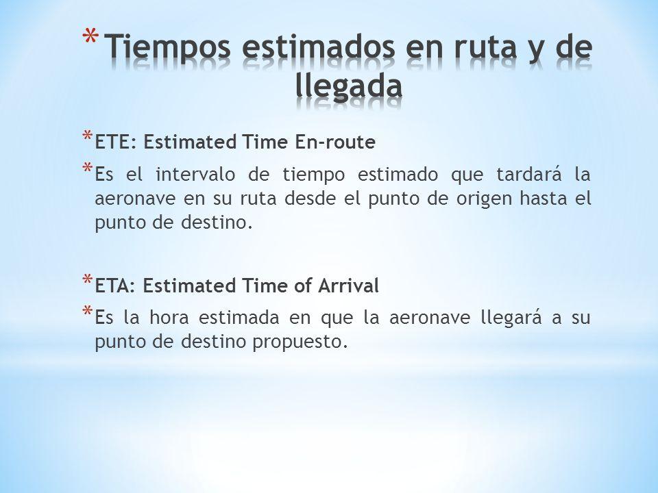 * ETE: Estimated Time En-route * Es el intervalo de tiempo estimado que tardará la aeronave en su ruta desde el punto de origen hasta el punto de dest