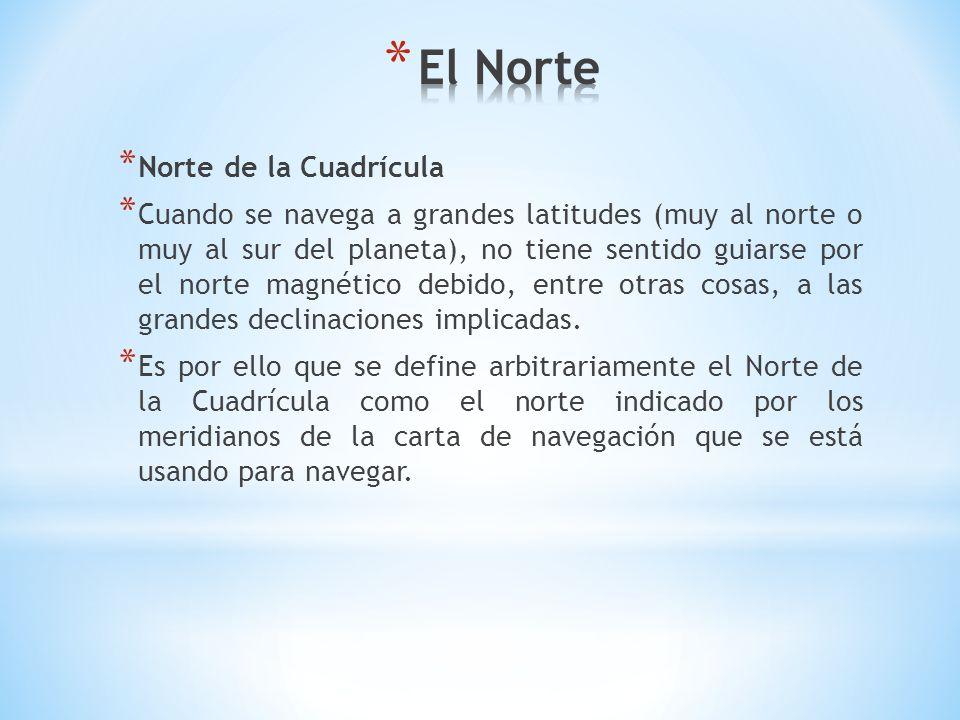 * Norte de la Cuadrícula * Cuando se navega a grandes latitudes (muy al norte o muy al sur del planeta), no tiene sentido guiarse por el norte magnéti