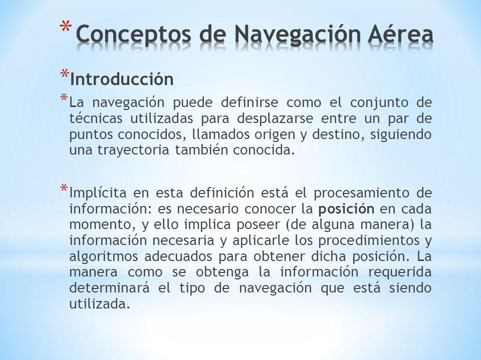 * Introducción * La navegación puede definirse como el conjunto de técnicas utilizadas para desplazarse entre un par de puntos conocidos, llamados ori