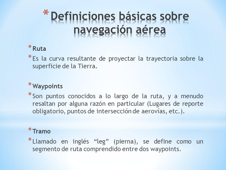 * Ruta * Es la curva resultante de proyectar la trayectoria sobre la superficie de la Tierra. * Waypoints * Son puntos conocidos a lo largo de la ruta