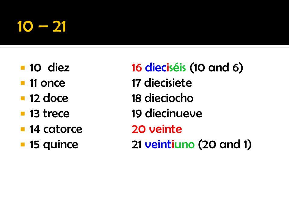 10 diez16 dieciséis (10 and 6) 11 once17 diecisiete 12 doce18 dieciocho 13 trece19 diecinueve 14 catorce20 veinte 15 quince21 veintiuno (20 and 1)