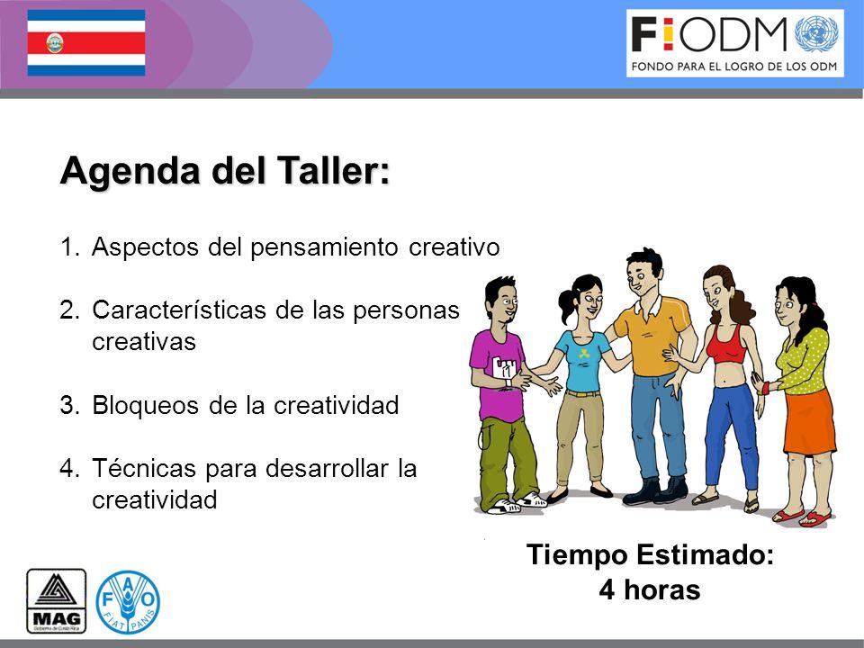 Agenda del Taller: Tiempo Estimado: 4 horas 1.Aspectos del pensamiento creativo 2.Características de las personas creativas 3.Bloqueos de la creativid