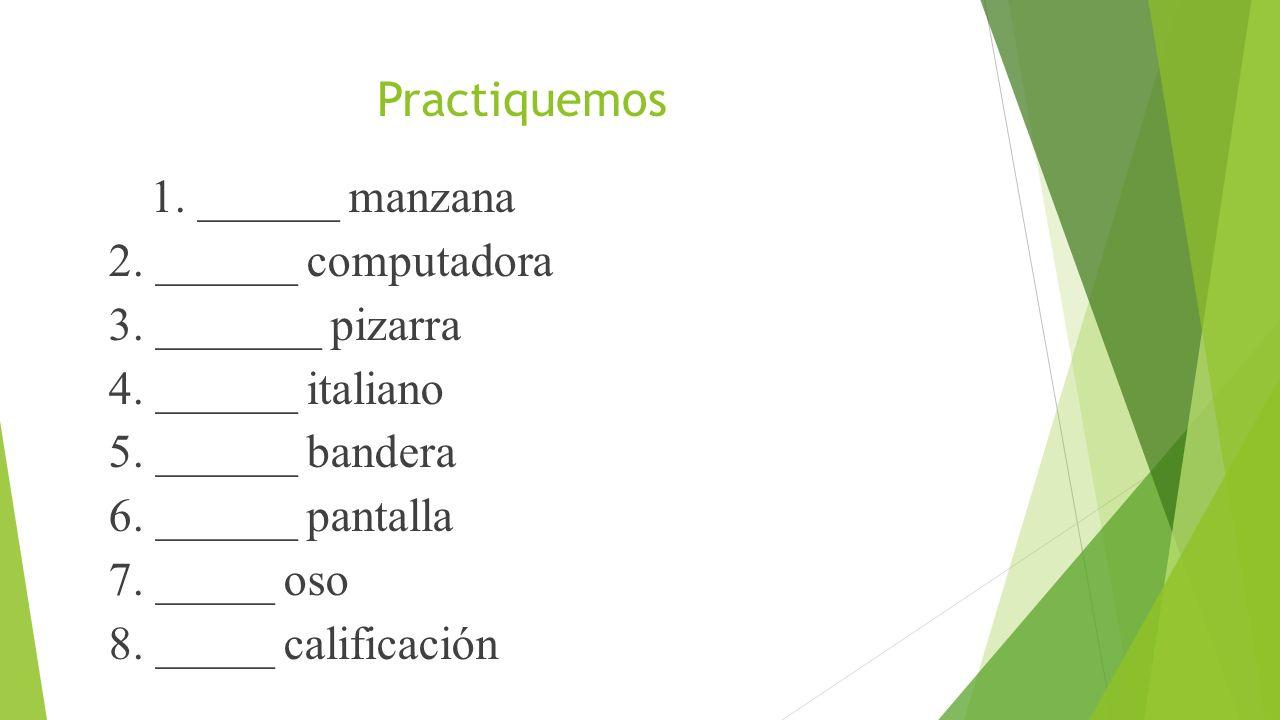 Practiquemos 1. ______manzana 2. ______ computadora 3. _______ pizarra 4. ______ italiano 5. ______ bandera 6. ______ pantalla 7. _____ oso 8. _____ c