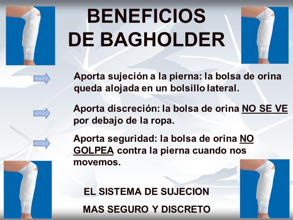 BENEFICIOS DE BAGHOLDER Aporta sujeción a la pierna: la bolsa de orina queda alojada en un bolsillo lateral. Aporta discreción: la bolsa de orina NO S