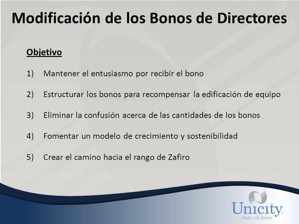 Modificación de los Bonos de Directores Objetivo 1)Mantener el entusiasmo por recibir el bono 2)Estructurar los bonos para recompensar la edificación de equipo 3)Eliminar la confusión acerca de las cantidades de los bonos 4)Fomentar un modelo de crecimiento y sostenibilidad 5)Crear el camino hacia el rango de Zafiro