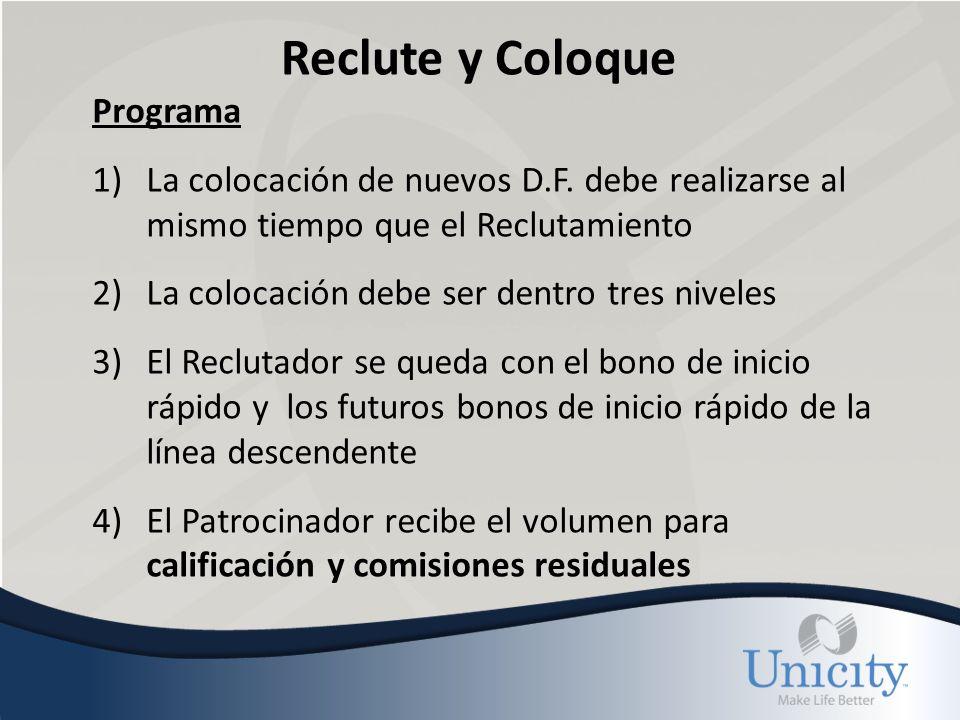 Reclute y Coloque Programa 1)La colocación de nuevos D.F.