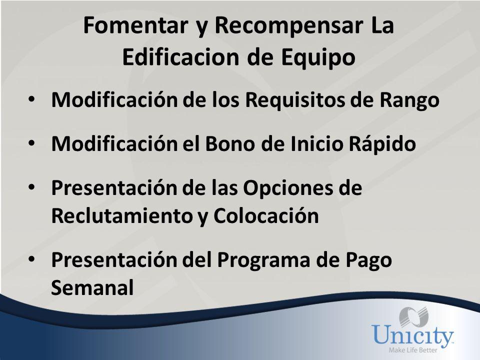 Fomentar y Recompensar La Edificacion de Equipo Modificación de los Requisitos de Rango Modificación el Bono de Inicio Rápido Presentación de las Opciones de Reclutamiento y Colocación Presentación del Programa de Pago Semanal