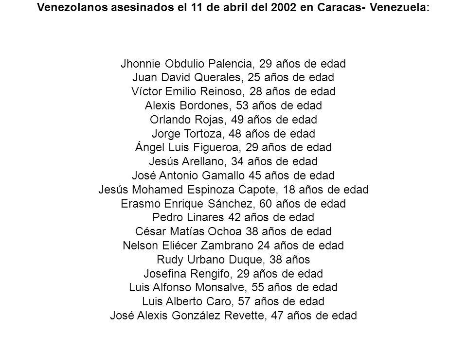 Venezolanos asesinados el 11 de abril del 2002 en Caracas- Venezuela: Jhonnie Obdulio Palencia, 29 años de edad Juan David Querales, 25 años de edad V