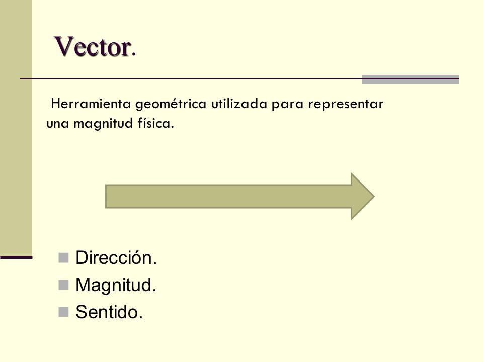 Vector Vector. Dirección. Magnitud. Sentido. Herramienta geométrica utilizada para representar una magnitud física.