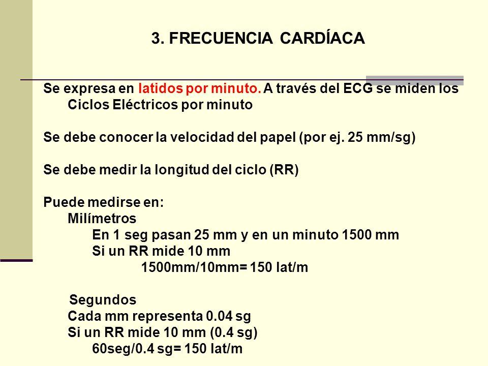 3. FRECUENCIA CARDÍACA Se expresa en latidos por minuto. A través del ECG se miden los Ciclos Eléctricos por minuto Se debe conocer la velocidad del p