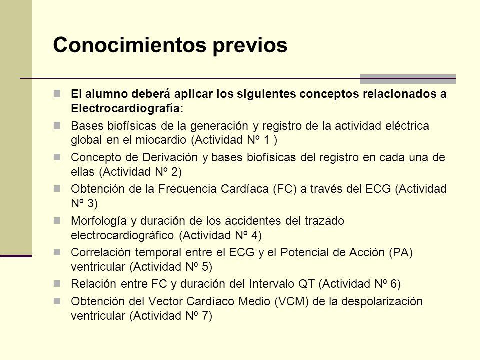 El alumno deberá aplicar los siguientes conceptos relacionados a Electrocardiografía: Bases biofísicas de la generación y registro de la actividad elé