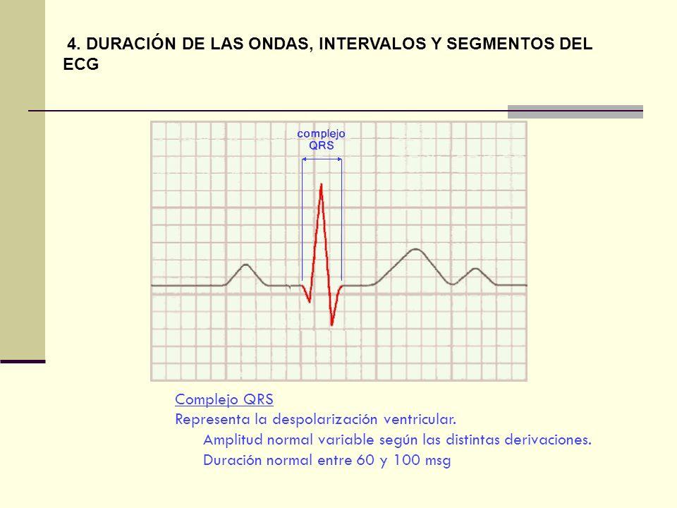 Complejo QRS Representa la despolarización ventricular. Amplitud normal variable según las distintas derivaciones. Duración normal entre 60 y 100 msg