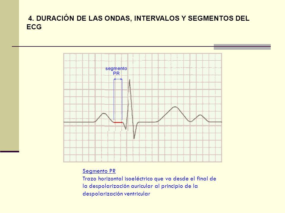 Segmento PR Trazo horizontal isoeléctrico que va desde el final de la despolarización auricular al principio de la despolarización ventricular 4. DURA