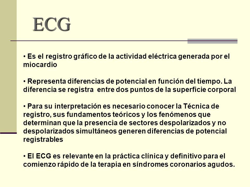 ECG Es el registro gráfico de la actividad eléctrica generada por el miocardio Representa diferencias de potencial en función del tiempo. La diferenci