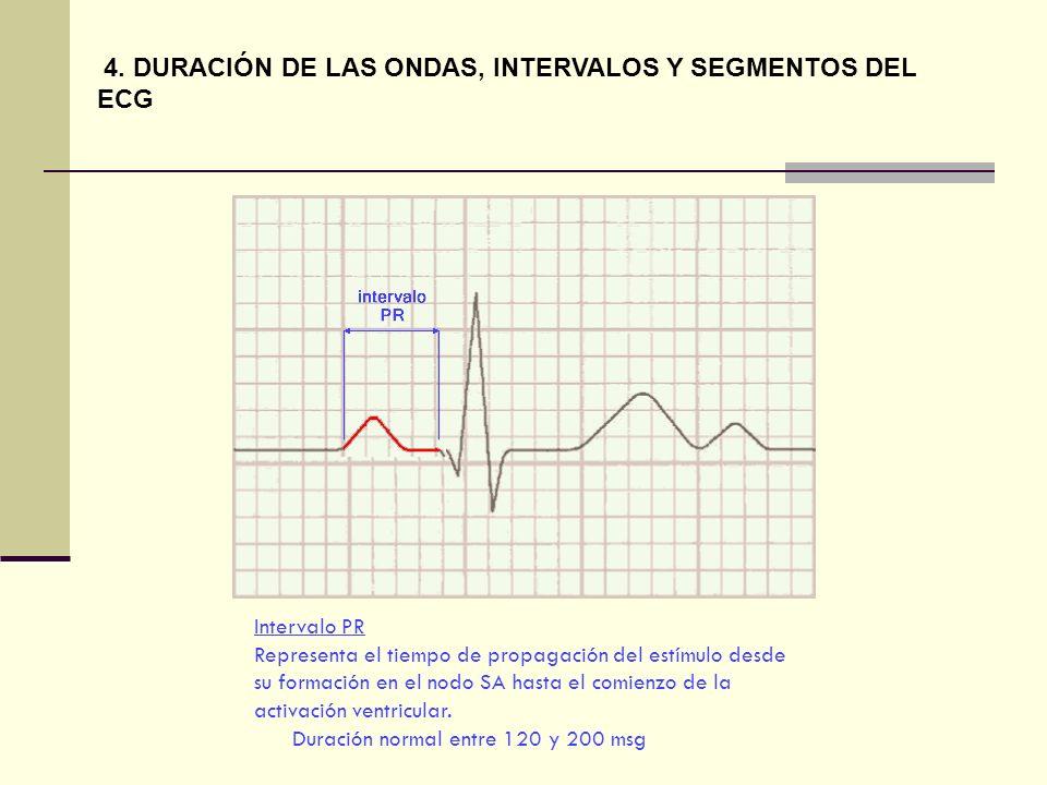 Intervalo PR Representa el tiempo de propagación del estímulo desde su formación en el nodo SA hasta el comienzo de la activación ventricular. Duració