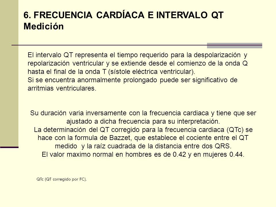 6. FRECUENCIA CARDÍACA E INTERVALO QT Medición El intervalo QT representa el tiempo requerido para la despolarización y repolarización ventricular y s