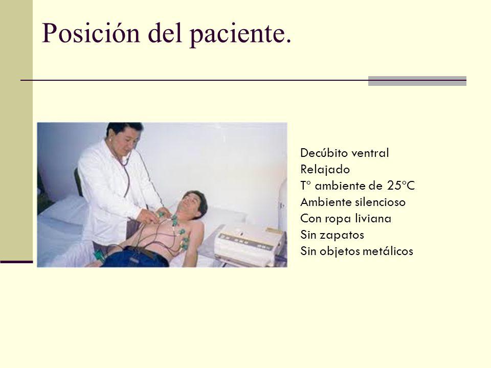 Posición del paciente. Decúbito ventral Relajado Tº ambiente de 25ºC Ambiente silencioso Con ropa liviana Sin zapatos Sin objetos metálicos