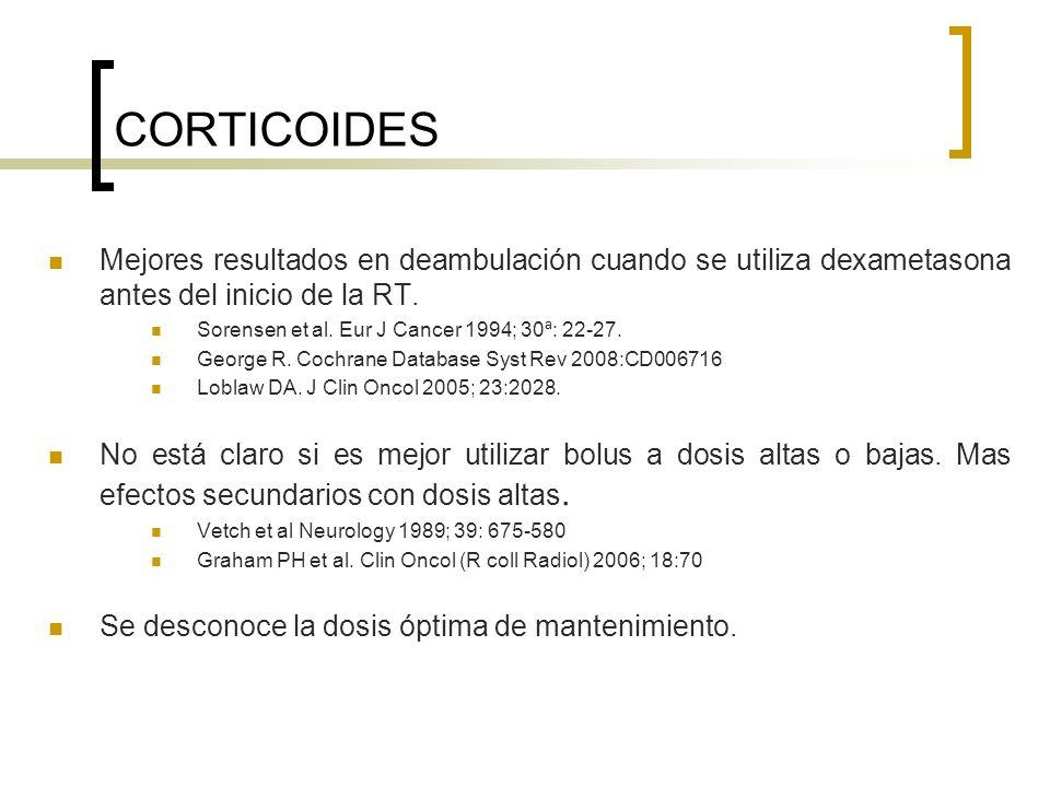 CORTICOIDES Mejores resultados en deambulación cuando se utiliza dexametasona antes del inicio de la RT. Sorensen et al. Eur J Cancer 1994; 30ª: 22-27