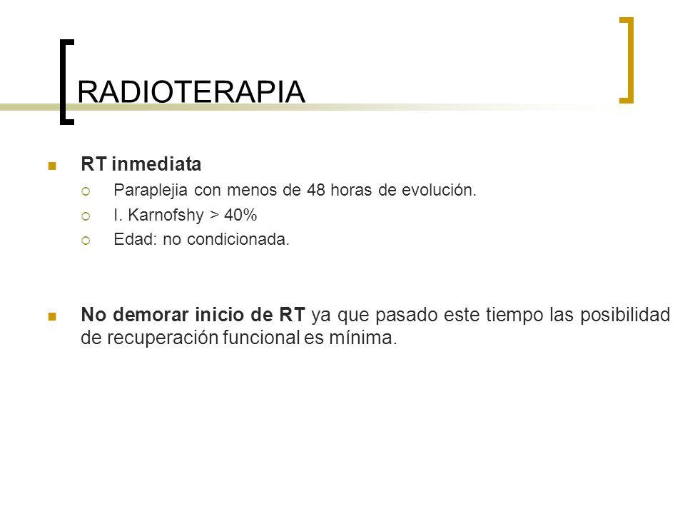 RADIOTERAPIA RT inmediata Paraplejia con menos de 48 horas de evolución. I. Karnofshy > 40% Edad: no condicionada. No demorar inicio de RT ya que pasa