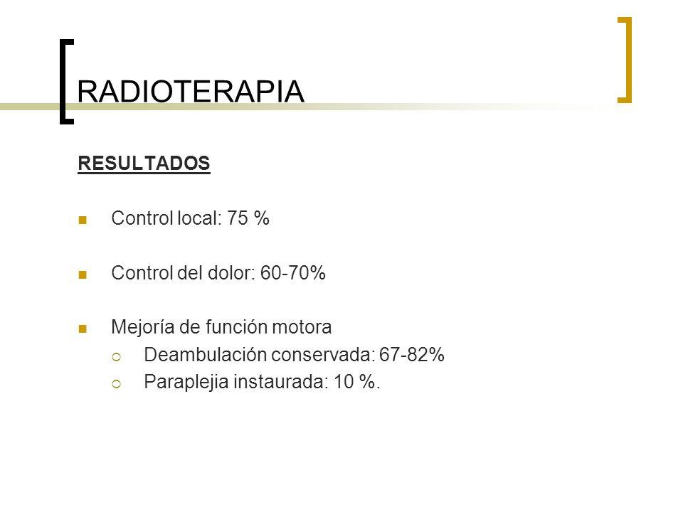 RADIOTERAPIA RESULTADOS Control local: 75 % Control del dolor: 60-70% Mejoría de función motora Deambulación conservada: 67-82% Paraplejia instaurada: