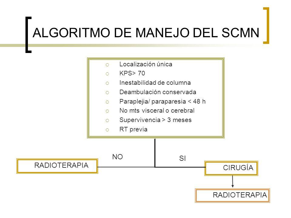 Localización única KPS> 70 Inestabilidad de columna Deambulación conservada Paraplejia/ paraparesia < 48 h No mts visceral o cerebral Supervivencia >