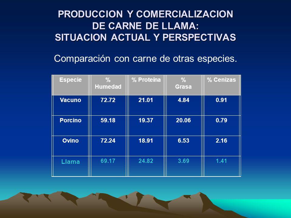 PRODUCCION Y COMERCIALIZACION DE CARNE DE LLAMA: SITUACION ACTUAL Y PERSPECTIVAS Comparación con carne de otras especies. Especie% Humedad % Proteína%