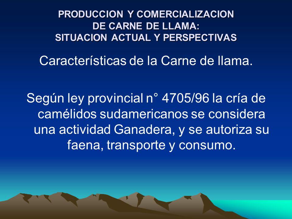PRODUCCION Y COMERCIALIZACION DE CARNE DE LLAMA: SITUACION ACTUAL Y PERSPECTIVAS Características de la Carne de llama. Según ley provincial n° 4705/96
