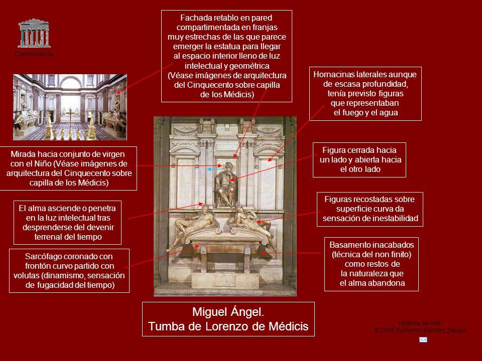 Claseshistoria Historia del Arte © 2006 Guillermo Méndez Zapata Miguel Ángel. Tumba de Lorenzo de Médicis Fachada retablo en pared compartimentada en