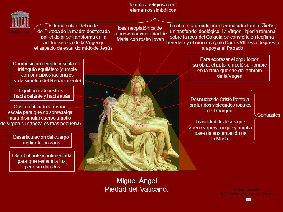 Claseshistoria Historia del Arte © 2006 Guillermo Méndez Zapata Miguel Ángel Piedad del Vaticano. Idea neoplatónica de representar virginidad de María