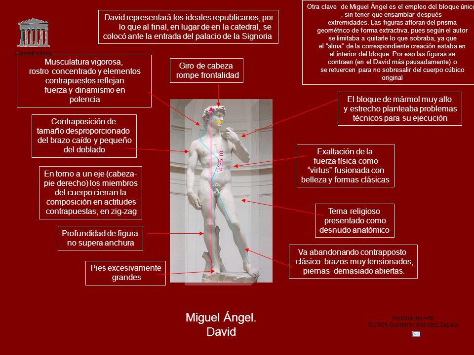 Claseshistoria Historia del Arte © 2006 Guillermo Méndez Zapata Miguel Ángel. David Exaltación de la fuerza física como virtus fusionada con belleza y