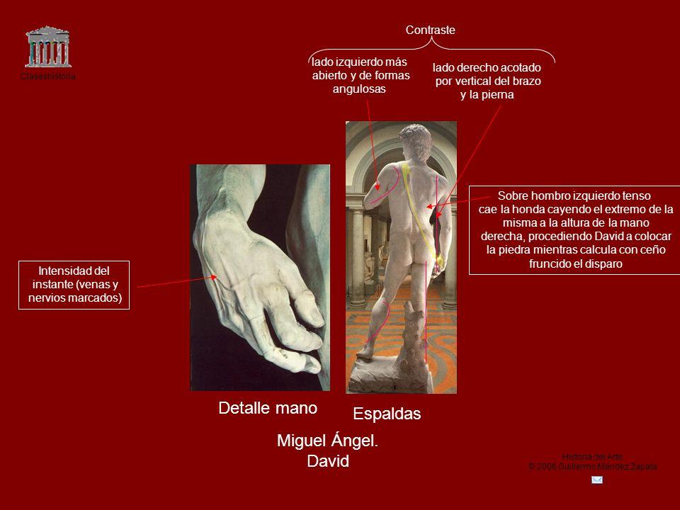 Claseshistoria Historia del Arte © 2006 Guillermo Méndez Zapata Detalle mano Espaldas Miguel Ángel. David Contraste lado derecho acotado por vertical