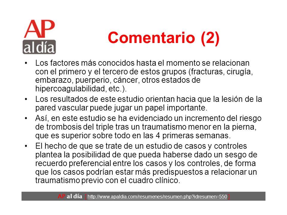AP al día [ http://www.apaldia.com/resumenes/resumen.php idresumen=550 ] Comentario (1) La TVP tiene una incidencia anual en los países desarrollados de aproximadamente un 1 por 1.000.