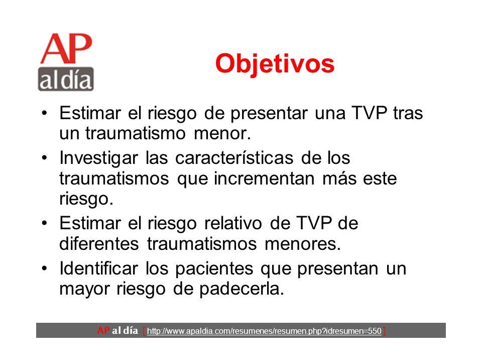 AP al día [ http://www.apaldia.com/resumenes/resumen.php?idresumen=550 ] Antecedentes Los traumatismos importantes son un factor de riesgo para la trombosis venosa profunda (TVP).