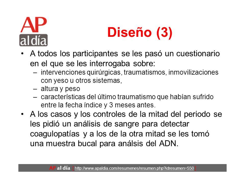 AP al día [ http://www.apaldia.com/resumenes/resumen.php idresumen=550 ] Diseño (2) Como fecha índice se utilizó la fecha del accidente vascular para los casos y la fecha de su inclusión en el estudio para los controles.