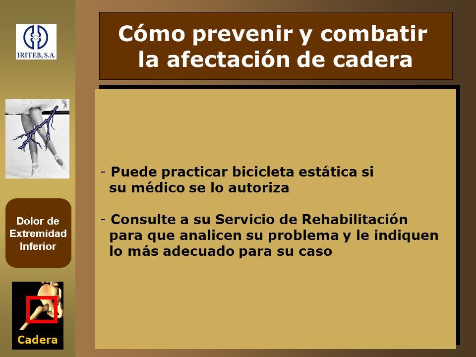 Dolor de Extremidad Inferior Cadera - Puede practicar bicicleta estática si su médico se lo autoriza - Consulte a su Servicio de Rehabilitación para q