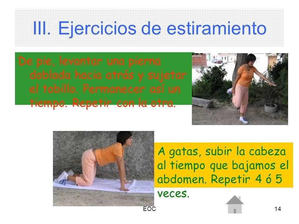 EOC14 III. Ejercicios de estiramiento De pie, levantar una pierna doblada hacia atrás y sujetar el tobillo. Permanecer así un tiempo. Repetir con la o
